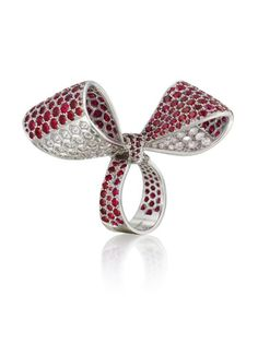 Mimi So Bow Ruby and Diamond Ring 18kt White Gold