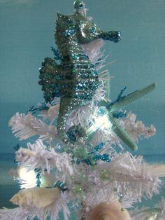Seashell Seahorse White Christmas Tree  Blue by CeShoreTreasures, $68.00