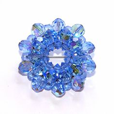 Sold - one of a kind!  Vintage Circle Brooch a Wreath of Sparkling Blue by Betsysbijoux, $19.95