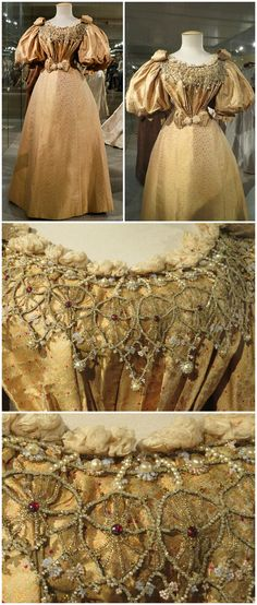 Ladies' dress, Europe, 1895, from the collection of Alexandre Vassiliev. Silk jacquard, fully embroidered with beads, sequins, silk flowers, self-fabric bows. Photos: Lena GM on http://talusha.3bb.ru/viewtopic.php?id=6141&p=32; Abzimo on Live Journal.