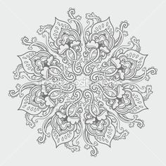 Ornamental round floral lace pattern. kaleidoscopic floral pattern, mandala