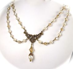 Victorian Pearl Necklace Earrings Jewelry SET by AzureTreasures, $98.00