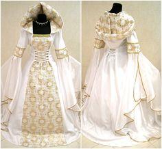 MEDIEVAL wedding dress 16-18-20 L-XL-2XL gothic witch vampire tudor renaissance costume gold celtic handfasting wicca vampire victorian