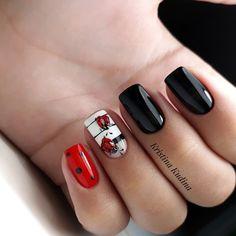 Perfect Nails, Gorgeous Nails, Red Nails, Hair And Nails, Cute Nails, Pretty Nails, Gel Nail Art, Nail Polish, Ladybug Nails