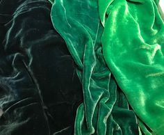 This is our luscious hand dyed silk/rayon velvet fabric. This bright green colors sample set includes one 9 inch by 22 inch piece of each color: teal green, emerald, and kelly green.I do have more of this fabric (yardage), convo me for a custom listing! Bright Green, Teal Green, Shades Of Green, Green Colors, Green Silk, Color Red, Zack E Cody, Catty Noir, Slytherin Aesthetic