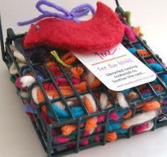 for the birds! - clever re-use of yarn ends.