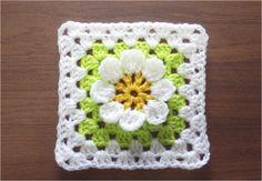 かぎ針編みの四角モチーフ 6 (3Dフラワー) How to Crochet Motif