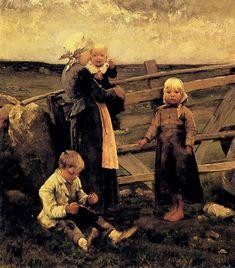 Children with Cherries by Bernard Blommers (Dutch 1845 -1914)