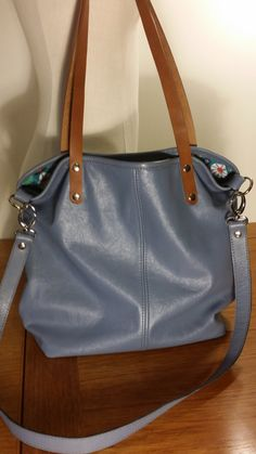 Blue Leather Crossbody Tote Bag Shoulder Messenger Cow Hide Handmade in USA by ForgedLeatherBags on Etsy
