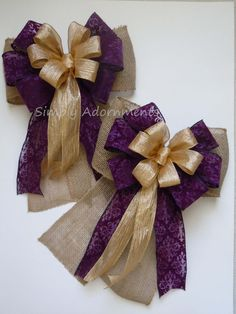 Burlap Purple Baroque Gold Wedding Pew Bow Rustic Shabby by SimplyAdornmentsss