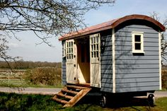 Southdown Shepherds Huts. Like grey paintwork with contrast frames.