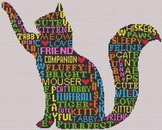 Cat Silhouette PDF Cross Stitch Chart, Pattern