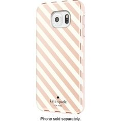 kate spade new york - Hybrid Hard Shell Case for Samsung Galaxy S6 Cell Phones - Diagonal Stripe Rose Gold/Cream - Front Zoom