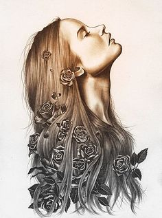 Kate Powell is an amazing artist Gravure Photo, How To Draw Hair, Cool Drawings, Art Inspo, Painting & Drawing, Amazing Art, Tattoos For Women, Cool Art, Art Photography