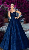 Colourful Wedding Dresses For Non-Traditional Bride ★ colourful wedding dresses a line illusion neckline lace navy tarikedizofficial Gown Photos, Wedding Dresses Photos, Colored Wedding Dresses, Wedding Colors, Bridal Dresses, Wedding Gowns, Prom Dresses, Terani Dresses, Red And Blue Dress