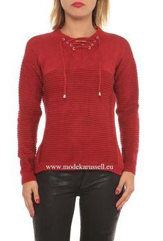 Damen V-Pullover Anastasia Rot