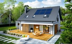 Here you will find photos of interior design ideas. Get inspired! House Roof, Facade House, My House, Bungalow Exterior, Cottage Exterior, Style At Home, Bungalow Extensions, House Construction Plan, Rural House