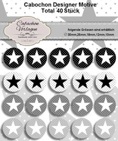 40 Cabochon Vorlagen Kreis Rund Download CA128 von Vintage Styler - Dein Designer Cabochon Spezialist auf DaWanda.com