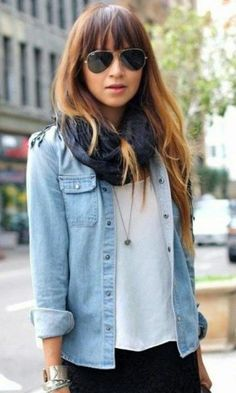 Look Camisa Jeans + Lenço