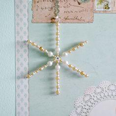 Pearl beaded snowflake tutorial by Torie Jayne Snowflake Ornaments, Beaded Ornaments, Holiday Ornaments, Snowflakes, Christmas Decorations, Beaded Snowflake, Christmas Tree Toy, Christmas Makes, Diy Christmas
