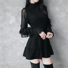 Gothic Elegant Vintage Ruffled Sleeves Mini Dress - Real Time - Diet, Exercise, Fitness, Finance You for Healthy articles ideas Gothic Outfits, Edgy Outfits, Ulzzang Fashion, Korean Fashion, Cute Dresses, Vintage Dresses, Mini Dresses, Short Dresses, Mini Robes