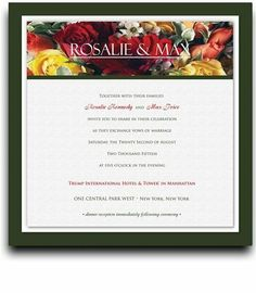 210 Square Wedding Invitations - Red Spring Bouquet Too by WeddingPaperMasters.com. $546.00. Now you can have it all! We have created, at incredible prices & outstanding quality, more than 300 gorgeous collections consisting of over 6000 beautiful pieces that are perfectly coordinated together to capture your vision without compromise. No more mixing and matching or having to compromise your look. We can provide you with one piece or an entire collection in a one stop...
