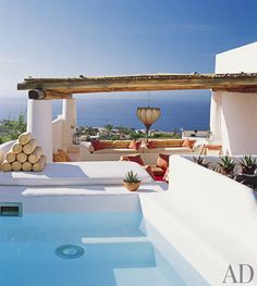 Salina home, Tyrrhenian Sea view • architect James Cavagnari + interior designer Erin Quiros