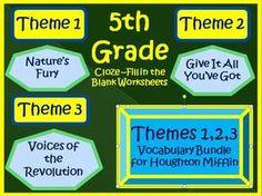 Cloze Worksheet for Houghton Mifflin Harcourt Fifth Grade, Half Year Bundle, Themes 1-2-3