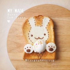 ❤️ Bunny Ice Cream Toast in this Sunny Saturday 🍞🐰🍦 ENJOY 💕 🍪Made-to-order cookies 🍴Zakka Style Cutlery by Japanese Bread, Japanese Sweets, Bunny Bread, Order Cookies, Kawaii Bento, Macaron Cookies, Food Pack, Bento Recipes, Edible Food