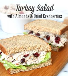 Best sandwich of lifeeee! Turkey Salad with Almonds and Dried Cranberries. The perfect way to use up all that leftover Thanksgiving turkey. Turkey Salad Sandwich, Turkey Sandwiches, Soup And Sandwich, Sandwich Recipes, Turkey Salad Recipe With Grapes, Sandwich Ideas, Tea Sandwiches, Thanksgiving Leftovers, Thanksgiving Recipes