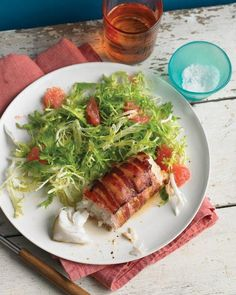Bacon-Wrapped Cod with Frisee Recipe