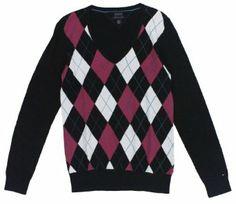 Tommy Hilfiger Women's Pima Cotton Argyle V-neck Sweater
