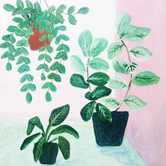 Plants on Pink No. 6 - an original acrylic painting, plants painted on a pink background door XantheCS op Etsy
