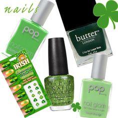St. Patrick's Day Nail Designs - http://prettyprincess.us/teen-fashion-blog/st-patricks-day-beauty/