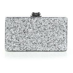 Edie Parker Jean Glittered Acrylic Clutch ($935) ❤ liked on Polyvore featuring bags, handbags, clutches, borse, apparel & accessories, silver, kisslock handbags, acrylic purse, edie parker and edie parker handbags