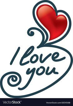 Download Hanging letters I love you red heart. Vector illustration ...