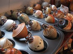 clay ornaments  Gary Jackson: Fire When Ready Pottery. NOTE - Chicago artist, lots to see on website****