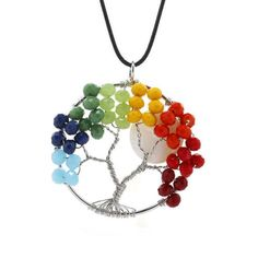 NEW Colorful Resin Beads Moon Tree of Life Pendant Leather Cord Necklace Jewelry…