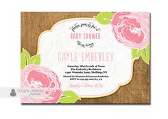 Burlap Floral Baby Shower Invitation Lace Pink Green Baby Girl Rose Garden Party Invite DIY Printable or Printed - Gayle Style on Etsy, $20.00