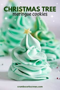 Christmas Tree Meringues - brenda - Christmas Tree Meringues Add a touch of festive magic to your holiday dessert table with these super cute and simple Christmas Tree Meringue Cookies. light, airy, a little bit chewy with a sprinkle of sparkle! Cookie Recipes For Kids, Easy Christmas Cookie Recipes, Christmas Cookie Exchange, Holiday Cookies, Cookie Ideas, Summer Cookies, Valentine Cookies, Easter Cookies, Birthday Cookies