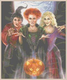 "Disney's Hocus Pocus ""The Sanderson Sisters"" Cross Stitch Pattern CD Halloween #ElegancebyELiseArt #DisneyBetteMidlerSarahParkerKathyNajimy"