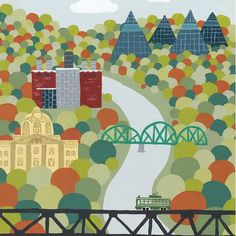 River Valley - Edmonton Landmark art print, home decor  Edmonton landmark art print with a unique Mid-Century / Folk Art take. A perfect Edmonton gift idea for any city lover or that poor soul that is leaving town. Purchase on www.snowalligator.com  Illustration by local artist Jason Blower  #yeg #yegart #yegwallart #wallart #EdmontonArt #edmontongift #yeggift #snow_aligator #charmingart #cuteart #midCentury #Folkart #cuteart #charmingart #edmontonartist