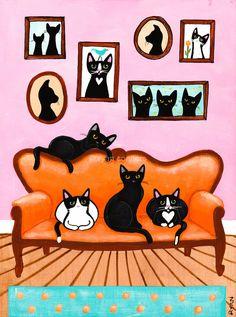 The Pink Room Original Cat Folk Art Painting by KilkennyCatArt