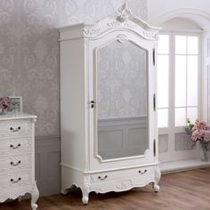 French Chateau White Painted 1 Door Mirrored Armoire - Single Wardrobe - SAN05-W