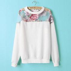 Women's Fashion Flower  Print Long Sleeve Shirt – USD $ 19.79
