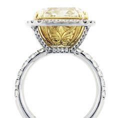 11 Carat Cushion Cut Fancy Yellow Diamond Engagement Ring