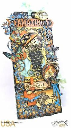 """This XL chipboard tag measures 5"""" wide by 11"""" tall and is decorated with Graphic 45 Steampunk Debutante paper and high quality Gypsy Laser Soul Chips.  Follow along and make your own!"""