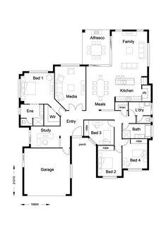 Infinity 268 - Hallmark Homes 4 Bedroom House Plans, House Rooms, Home Design Floor Plans, House Floor Plans, Rendered Plans, Hallmark Homes, Open Plan Kitchen, House Layouts, Home Hacks