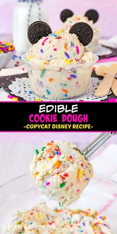 Edible Cookie Dough - rainbow sprinkles and chocolate cookie ears make this no bake cookie dough a sweet treat. Make this easy Disney copycat recipe for dessert when you cannot go to Disney Springs. Edible Cookie Dough Recipe For One, Edible Sugar Cookie Dough, Cookie Dough For One, No Bake Cookie Dough, Edible Cookies, Cookie Dough Recipes, Fun Baking Recipes, Sweet Recipes, Desserts With Cookie Dough