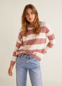 Discover the latest trends in Mango fashion, footwear and accessories. Shop the best outfits for this season at our online store. Mango Outlet, Ribbed Sweater, Wool Sweaters, Mango France, Striped Knit, Stripe Print, Pulls, Knitted Fabric, Jackets